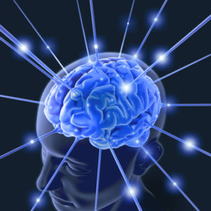Brain connected by wires receiving energy pulses.